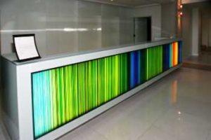 Glass lobby desk at the Hotel Murano