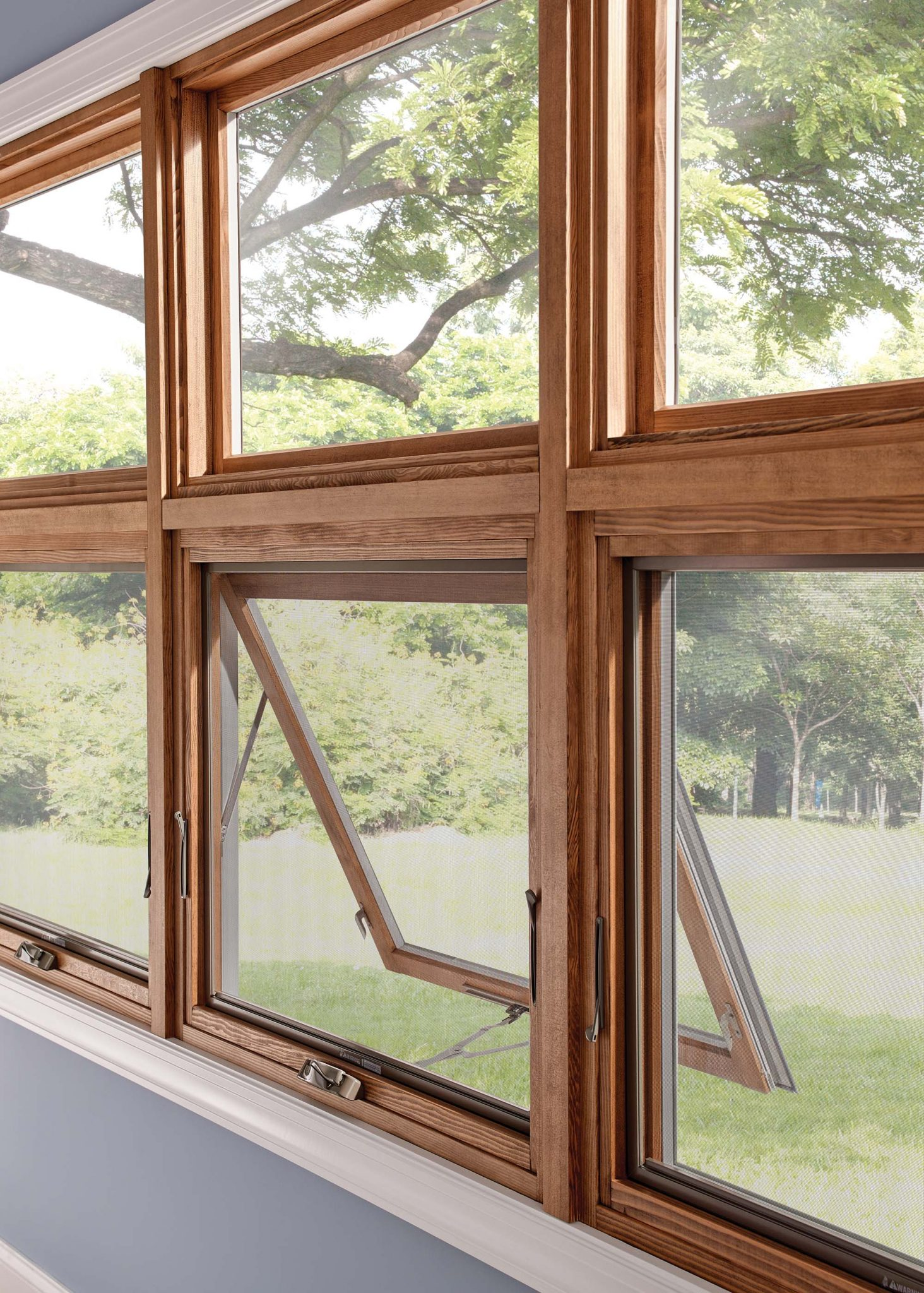 Wood frame swing open window